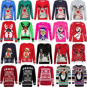 Ladies Novelty Reindeer Christmas Santa Snow Xmas Jumper Sweater Top Retro Vinta