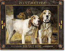 Winchester Hunting Dogs TIN SIGN metal art poster cabin bar ammo wall decor 2176