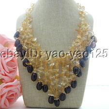 H011802 19'' Natural Citrine Smoky Quartz Necklace