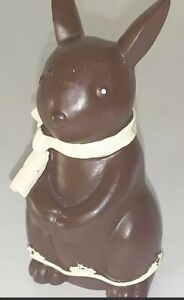 "Vtg RARE & ADORABLE Resin Chocolate Bunny Figurine Wearing Scarf 4 1/2""H"