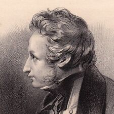 Lithographie Alfred de Vigny Loches Indre et Loire Poésie Poète Romantisme