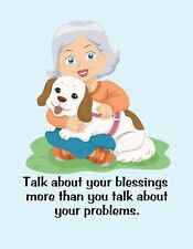 METAL REFRIGERATOR MAGNET Woman Dog Talk Blessings Not Problems Family Friend