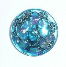 """Pretty Hand Painted Blue Czech Glass Flower Shank Button  1-1/16"""" Flower Button"""