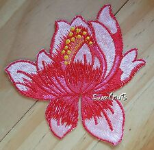 RED Iron on Transfer Lotus flower Embroidered Patch Applique Motif Badge - 8cm