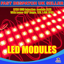 200 x RED 5730 SMD injection Modules 3 DEL Strip Light avec Lense storefront sign