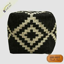 "Authentic Kilim Ottoman Pouf Cover Handmade Rustic Footstool Case 18"" Pouf Cover"