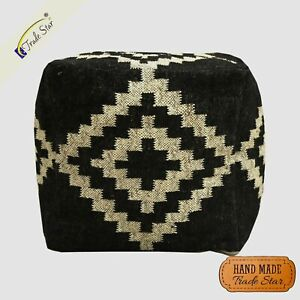 """Authentic Kilim Ottoman Pouf Cover Handmade Rustic Footstool Case 18"""" Pouf Cover"""