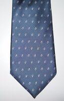 CHRISTIAN DIOR Made in USA Blue Vintage 100 Silk Paisley Print Necktie Tie
