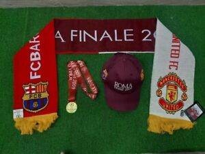 Set Champion League Final 2009 Barcelona ManUtd brown hat cap scarf BNWT medal