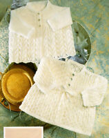 """Vintage Baby  Matinee Coats 16"""" - 20""""  3 & 4Ply  Knitting Pattern"""
