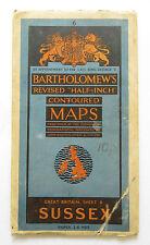 Bartholomew's Revised Map of Sussex Half-Inch Vintage Cloth Map  VGC