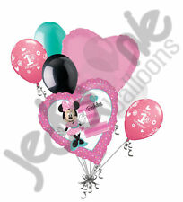 7 pc Minnie Mouse 1st Birthday Balloon Bouquet Party Decoration Pink Disney Girl