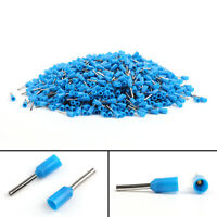 1000X 22AWG 0.5mm² Insulated Terminal E0508 Wire Copper Crimp Connector Blue US