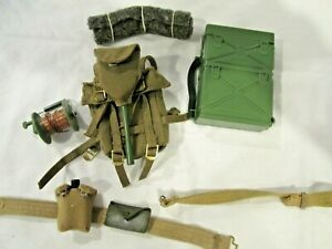 """Vintage 1964 12"""" GI Joe Soldier Army Accessories w/ Tag Backpack, Canteen, Etc."""