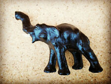 Indian Elephant Leather Animal Ornament Figurine - Collectable Handmade