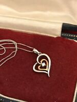 375 White Gold Chain Necklace & 9ct Gold & Sterling Silver Heart Pendant  (D1X)