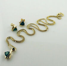 Beautiful 14K Yellow Gold, Diamonds & Dark Green Spinel Necklace & Earrings Set