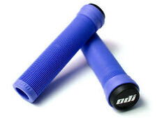 ODI SOFT FLANGELESS LONGNECK GRIPS SOFTIES BMX BIKE & SCOOTER 143mm  BLUE NEW