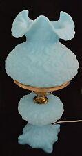 VINTAGE FENTON POPPY LAMP BLUE RARE GLASS PEDESTAL GREAT CONDITION!
