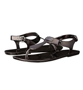 Women Michael Kors MK Plate Jelly Flat Buckle Up Sandals PVC Gunmetal-Dark Gray