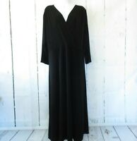 New Coldwater Creek Dress XL X Large Black Maxi Faux Wrap Surplice