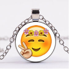 New Cabochon Silver/Bronze/Black Glass Necklace pendant(cute emoji-Happy