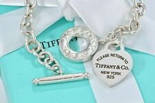 Return To Tiffany & Co. Silver Army Camo Enamel Lettering Heart Toggle Bracelet