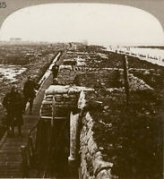 WW1 Stereoview. The Battle Scarred Defences of the Yser Canal near Ypres