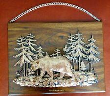 Vtg Wall Decor Brass Wood Plaque Bear in Woods Mahingan Arts&Crafts A&P Canada