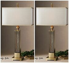 """TWO NEW  33"""" TEXTURED GLASS GOLD ACCENTS TABLE LAMPS SILKEN SHADE DESK LIGHT"""