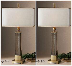 "PAIR MODERN XXL 33"" TEXTURED LIGHT AMBER GLASS TABLE BUFFET LAMPS CAECILIA"