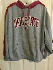 "OHIO STATE  RED & GRAY HOODIE PULLOVER SWEATSHIRT SIZE LARGE  ""GO BUCKS #1"""