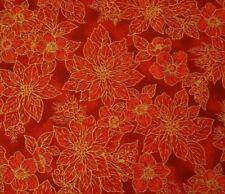 Holiday Dazzle BTY Studio 8 VIP Christmas Tonal Red Poinsettia Metallic Gold