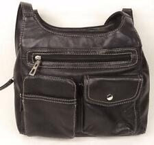 BLACK LEATHER SHOULDER BAG HANDBAG DOUBLE STRAP