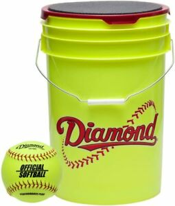 Diamond Official Fastpitch 12YSC 18 Softballs with Yellow Bucket