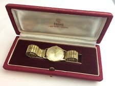 Vintage Mens Gents Rolex Tudor 9ct Gold Watch CASED Ship Worldwide