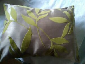 """2 New Boudoir Cushions. Taup with a soft Green embossed leaf designl16""""x12 """""""
