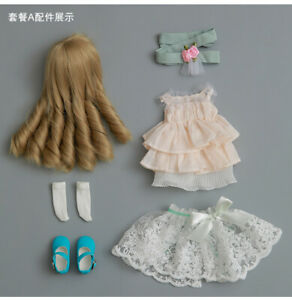 New Lace Dress clothes Hair shoes For 1/6 BJD Doll Fairyland Littlefee Ante A