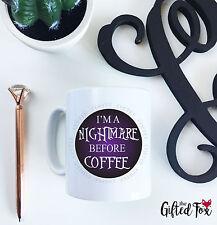 IM un incubo prima di caffè in ceramica viola a Nero 10oz Tazza