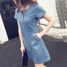 f4337562ba4 Women Plus Size Korean Casual Denim Sexy Evening Dress Midi Dresses Mini  Dress0c
