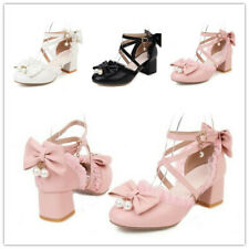 34-43 Womens Block Mid Heels Cross Strappy Buckle Party Pumps Mary Janes Shoes