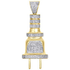 "10K Yellow Gold Diamond Plug Pendant Socket Fuse 1.80"" Pave Unisex Charm 1/2 CT."