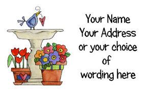 42 X Personalised Address Labels Stickers - Bird Bath  - Address, crafts