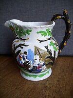 Antique 19th Century Staffordshire Pottery Jug in Pratt Style (Landscape Camp)