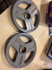 """Weider Pair Set of 2 25LB 2"""" Olympic Cast Iron Weight Plates (50LB Total) NEW"""