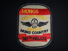 Vietnam War Patch US 187th Assault Helicopter Company MUNGS DEATH FROM ABOVE