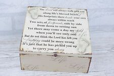 Footprints in The Sand Memory Keepsake Box The Lord Will Always Wooden M SG1841
