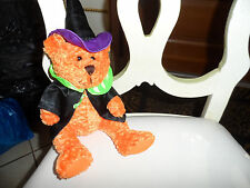 Halloween orange witch teddy bear 13""