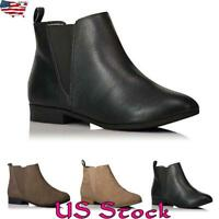 Women Block Round Toe Low Heel Ankle Boots Casual Slip On Shoes Comfy Fashion US