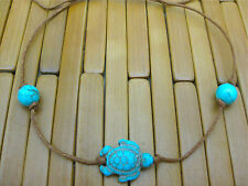 TURQUOISE TIE ON STRING TURTLE & BEADS TORTOISE YOGA BRACELET ANKLET brown